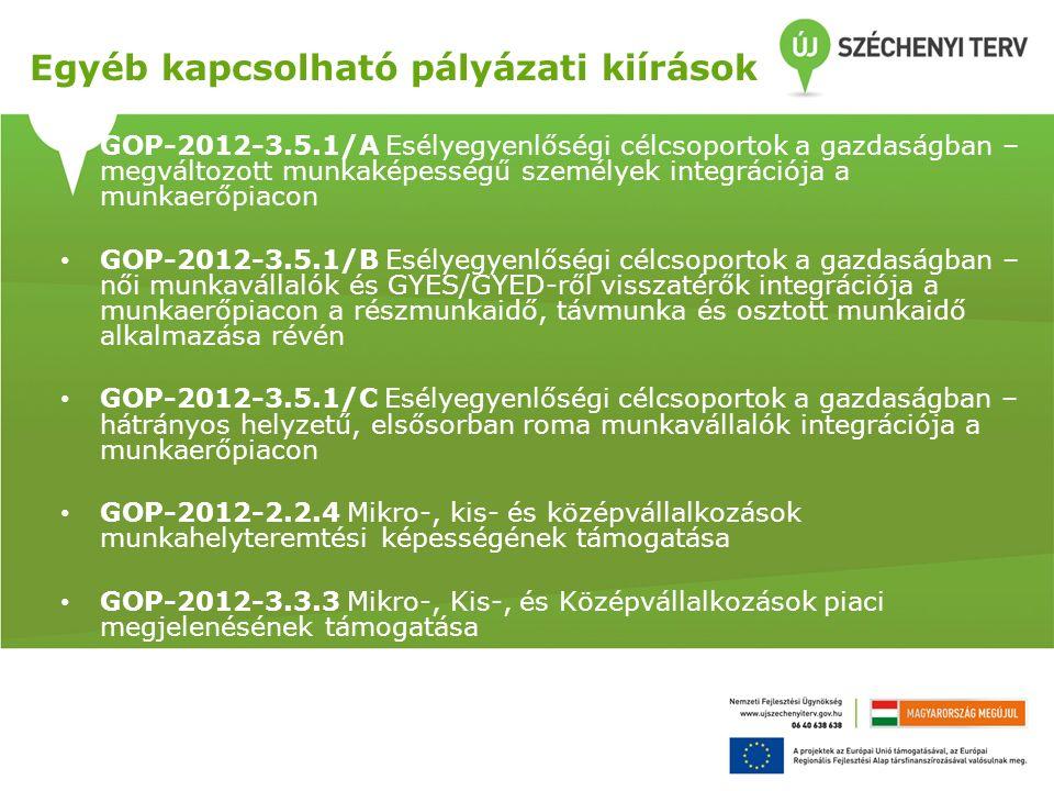Egyéb kapcsolható pályázati kiírások GOP-2012-3.5.1/A Esélyegyenlőségi célcsoportok a gazdaságban – megváltozott munkaképességű személyek integrációja