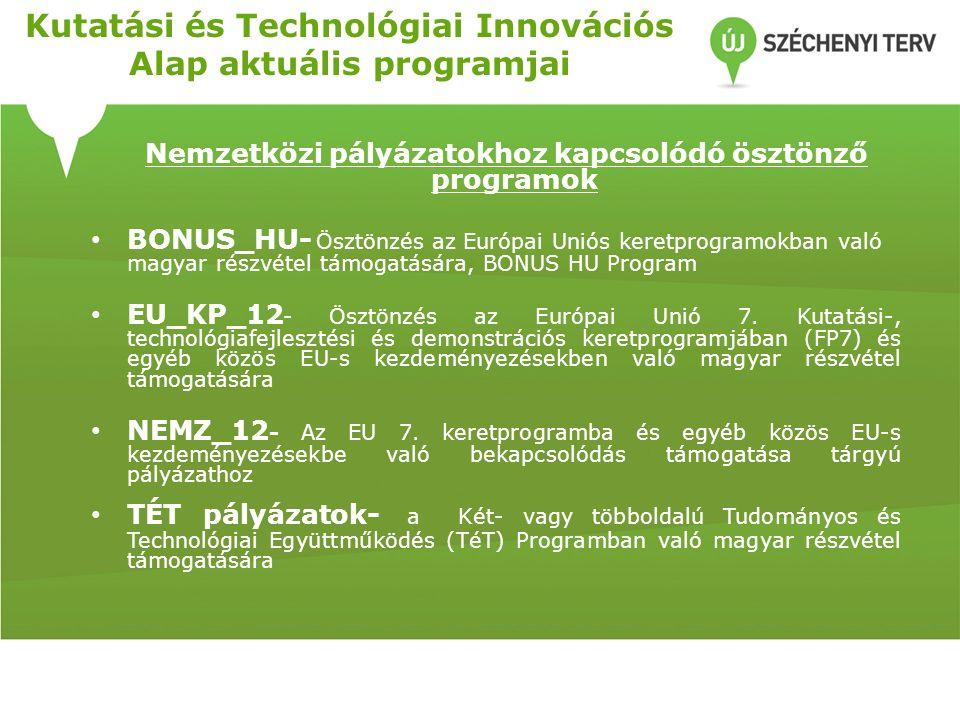 Kutatási és Technológiai Innovációs Alap aktuális programjai Nemzetközi pályázatokhoz kapcsolódó ösztönző programok BONUS_HU- Ösztönzés az Európai Uniós keretprogramokban való magyar részvétel támogatására, BONUS HU Program EU_KP_12 - Ösztönzés az Európai Unió 7.