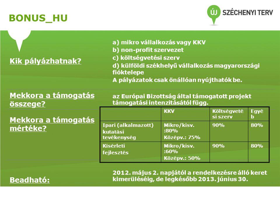BONUS_HU Kik pályázhatnak? a) mikro vállalkozás vagy KKV b) non-profit szervezet c) költségvetési szerv d) külföldi székhelyű vállalkozás magyarország