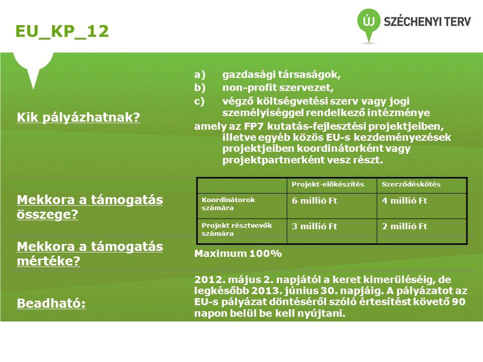 EU_KP_12 Kik pályázhatnak? a)gazdasági társaságok, b)non-profit szervezet, c)végző költségvetési szerv vagy jogi személyiséggel rendelkező intézménye