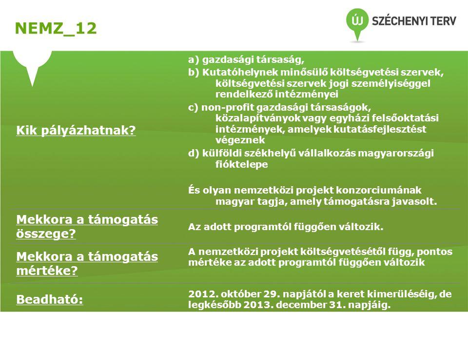 NEMZ_12 Kik pályázhatnak? a) gazdasági társaság, b) Kutatóhelynek minősülő költségvetési szervek, költségvetési szervek jogi személyiséggel rendelkező