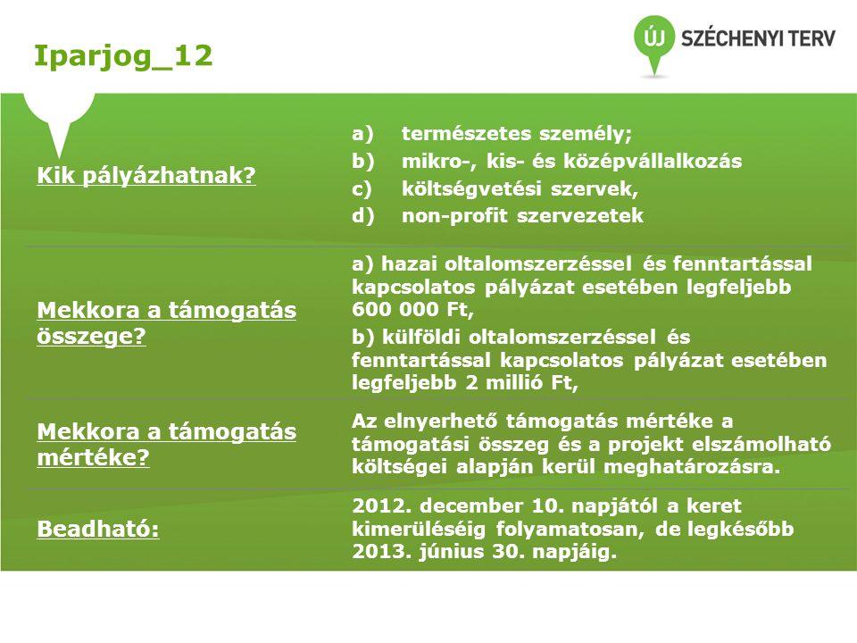 Iparjog_12 Kik pályázhatnak? a)természetes személy; b)mikro-, kis- és középvállalkozás c)költségvetési szervek, d)non-profit szervezetek Mekkora a tám