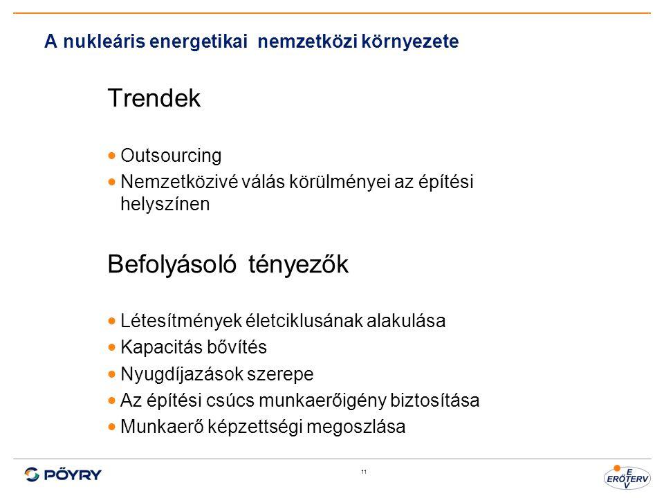 11 A nukleáris energetikai nemzetközi környezete Trendek  Outsourcing  Nemzetközivé válás körülményei az építési helyszínen Befolyásoló tényezők  L