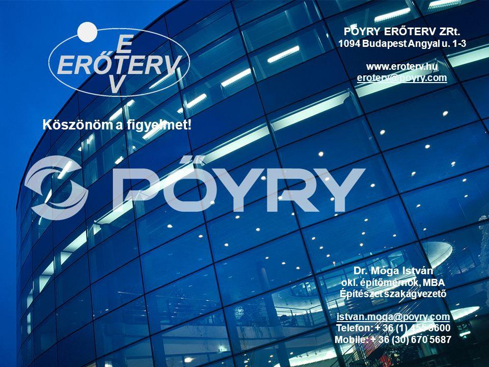 30 Köszönöm a figyelmet! PÖYRY ERŐTERV ZRt. 1094 Budapest Angyal u. 1-3 www.eroterv.hu eroterv@poyry.com Dr. Móga István okl. építőmérnök, MBA Építész