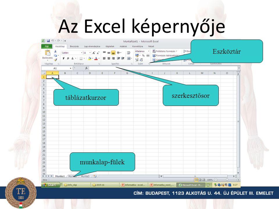 Az Excel képernyője munkalap-fülek szerkesztősor táblázatkurzor Eszköztár