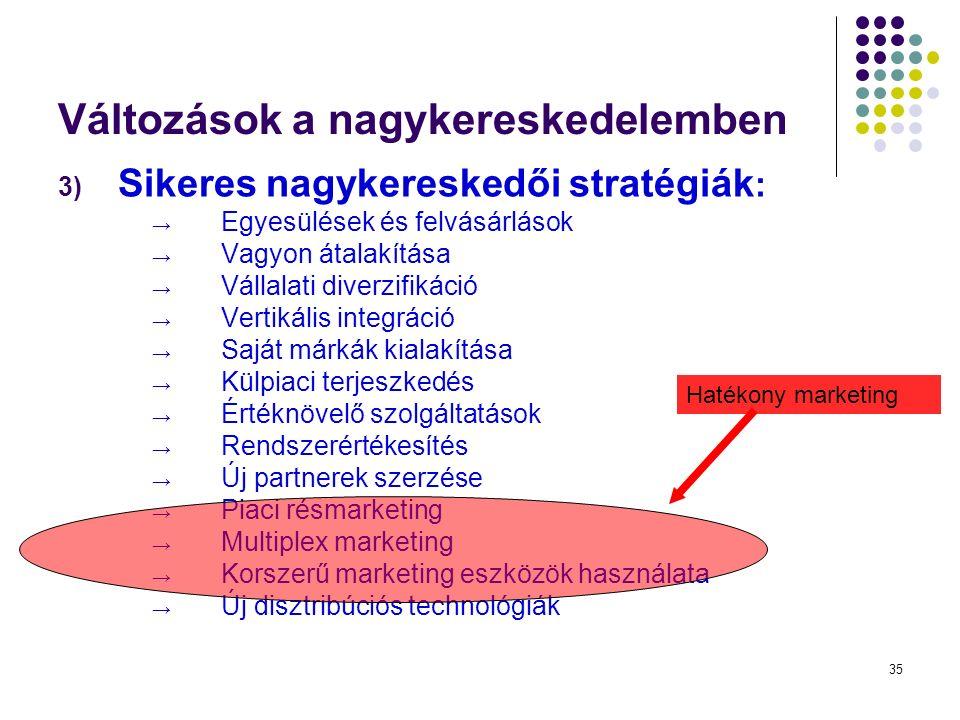 35 Változások a nagykereskedelemben 3) Sikeres nagykereskedői stratégiák : → Egyesülések és felvásárlások → Vagyon átalakítása → Vállalati diverzifikáció → Vertikális integráció → Saját márkák kialakítása → Külpiaci terjeszkedés → Értéknövelő szolgáltatások → Rendszerértékesítés → Új partnerek szerzése → Piaci résmarketing → Multiplex marketing → Korszerű marketing eszközök használata → Új disztribúciós technológiák Hatékony marketing