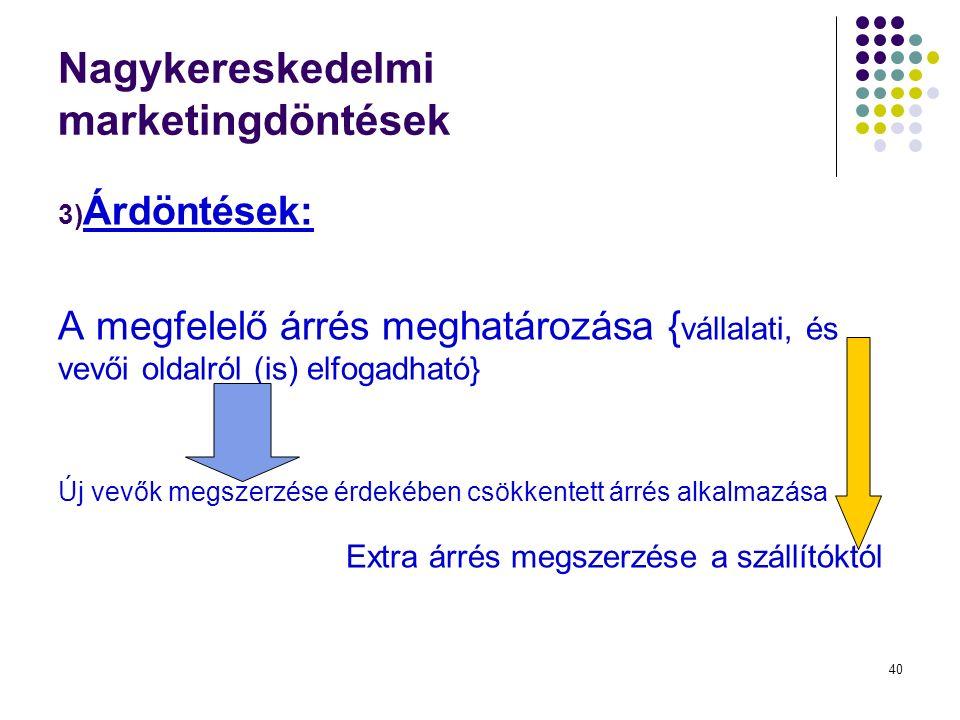 40 Nagykereskedelmi marketingdöntések 3) Árdöntések: A megfelelő árrés meghatározása { vállalati, és vevői oldalról (is) elfogadható} Új vevők megszerzése érdekében csökkentett árrés alkalmazása Extra árrés megszerzése a szállítóktól