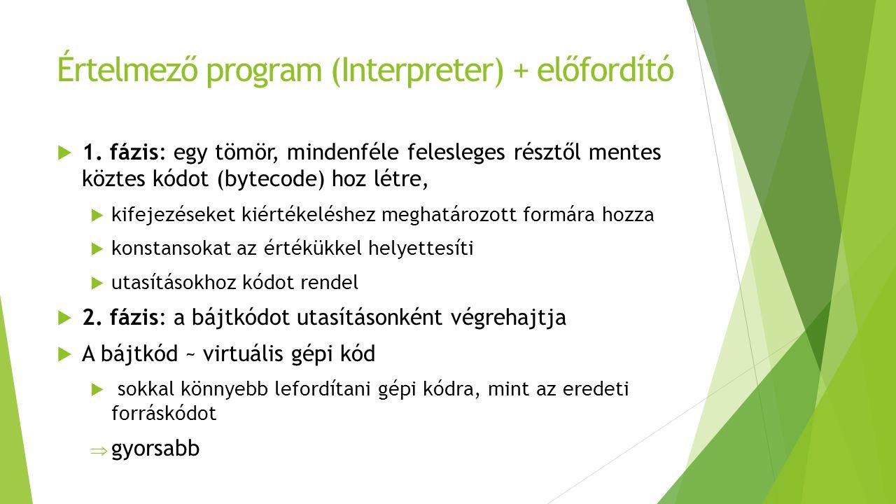 Értelmező program (Interpreter) + előfordító  1.
