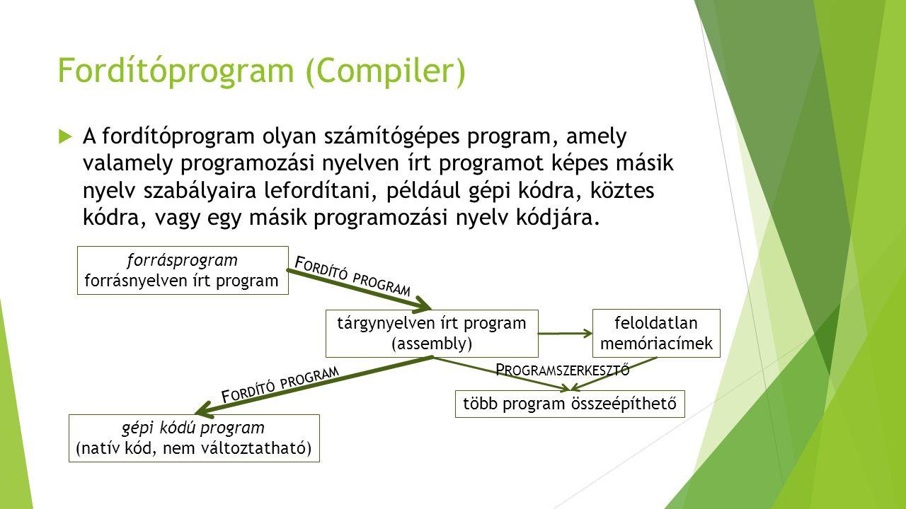 Fordítóprogram (Compiler)  A fordítóprogram olyan számítógépes program, amely valamely programozási nyelven írt programot képes másik nyelv szabályaira lefordítani, például gépi kódra, köztes kódra, vagy egy másik programozási nyelv kódjára.
