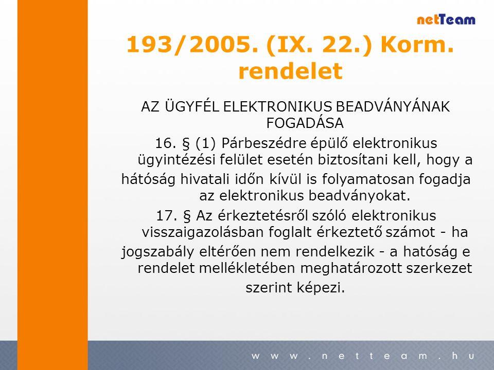 193/2005. (IX. 22.) Korm. rendelet AZ ÜGYFÉL ELEKTRONIKUS BEADVÁNYÁNAK FOGADÁSA 16.