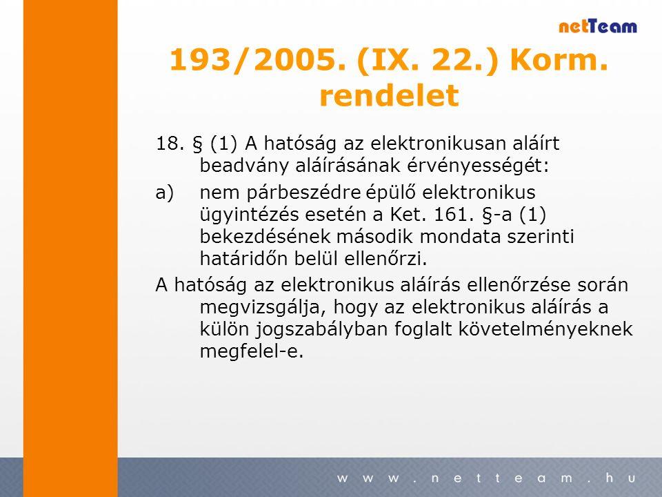18. § (1) A hatóság az elektronikusan aláírt beadvány aláírásának érvényességét: a)nem párbeszédre épülő elektronikus ügyintézés esetén a Ket. 161. §-
