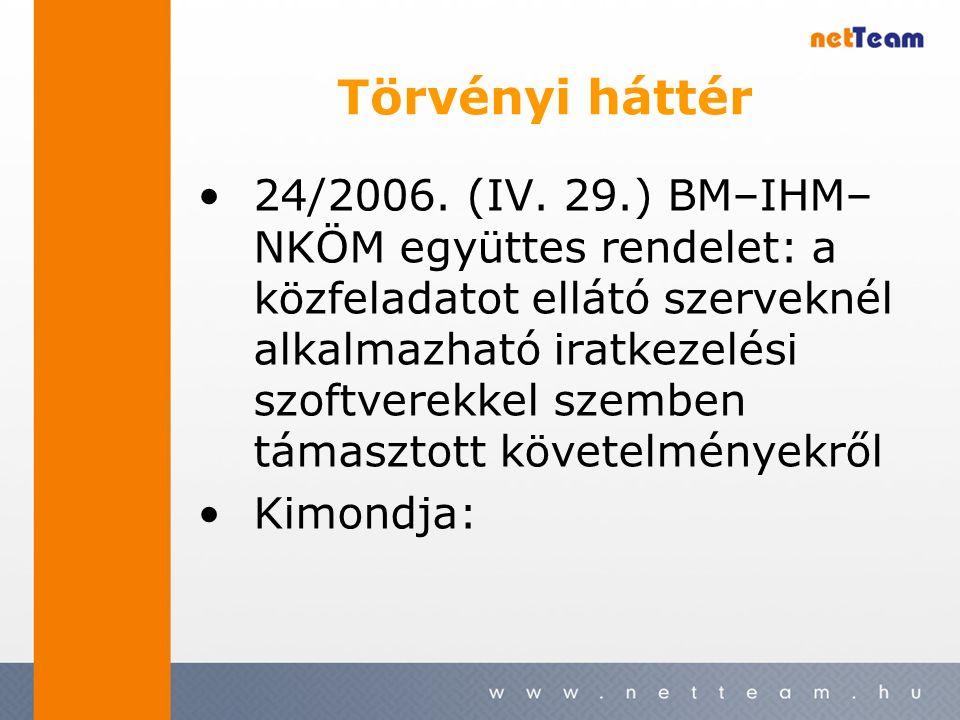 Törvényi háttér 24/2006. (IV.