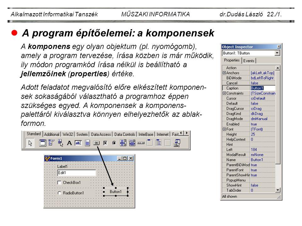 Alkalmazott Informatikai Tanszék MŰSZAKI INFORMATIKA dr.Dudás László 22./12.