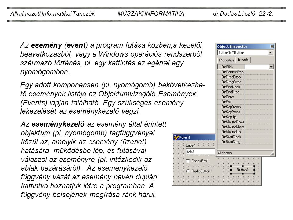 Alkalmazott Informatikai Tanszék MŰSZAKI INFORMATIKA dr.Dudás László 22./2.