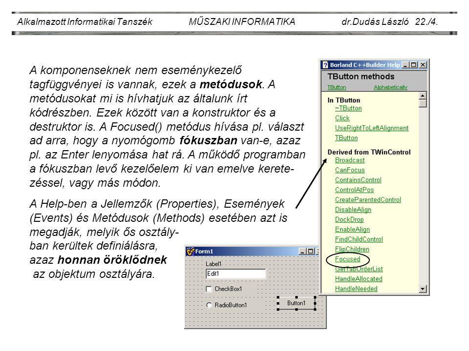 Alkalmazott Informatikai Tanszék MŰSZAKI INFORMATIKA dr.Dudás László 22./5.