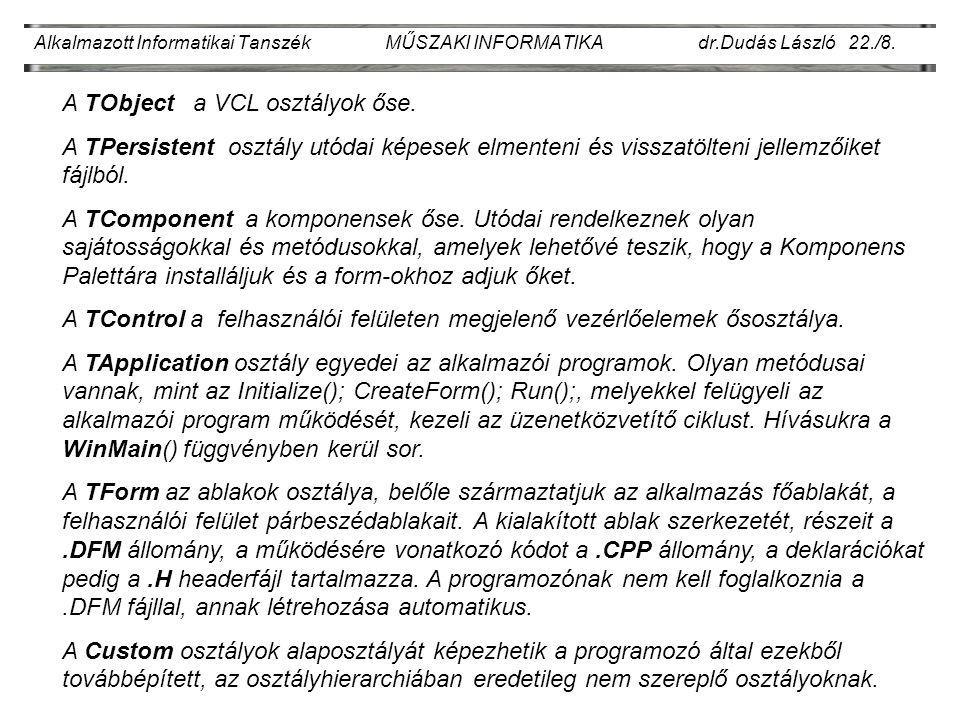 Alkalmazott Informatikai Tanszék MŰSZAKI INFORMATIKA dr.Dudás László 22./9.