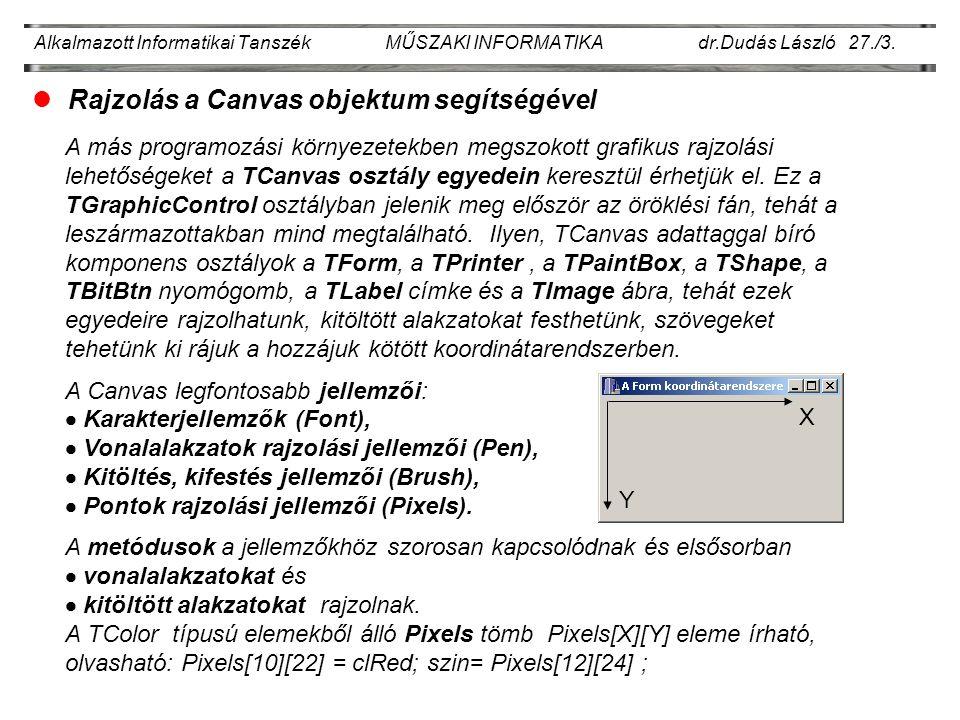 Alkalmazott Informatikai Tanszék MŰSZAKI INFORMATIKA dr.Dudás László 27./3.
