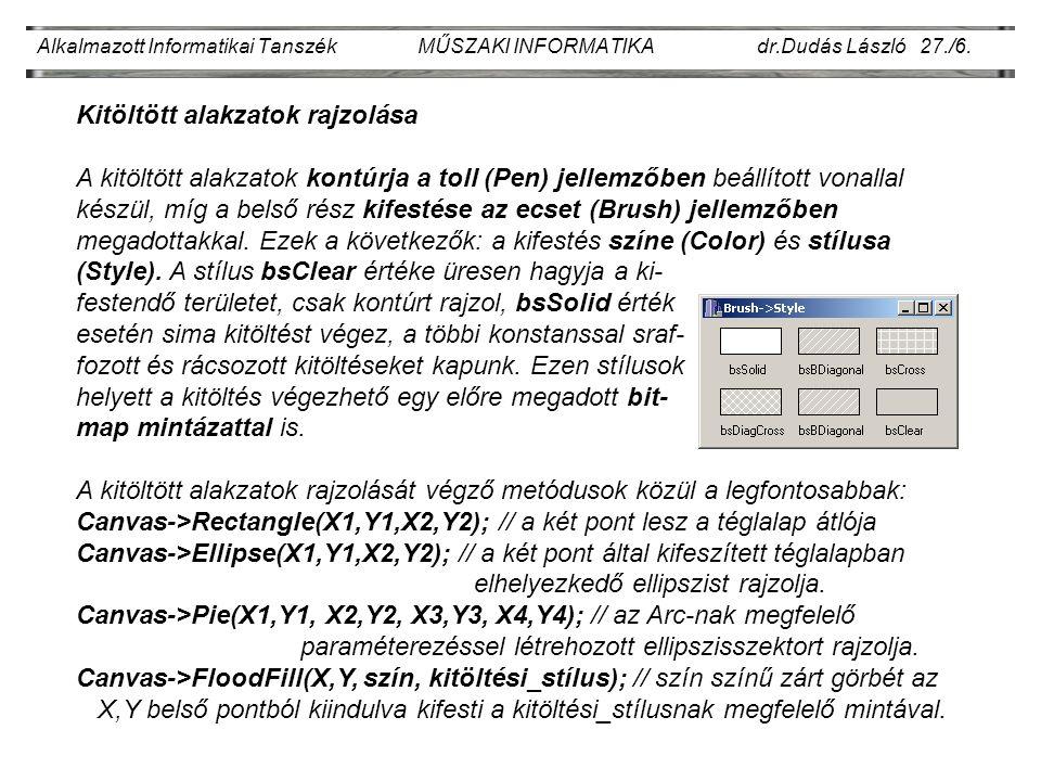 Alkalmazott Informatikai Tanszék MŰSZAKI INFORMATIKA dr.Dudás László 27./6.