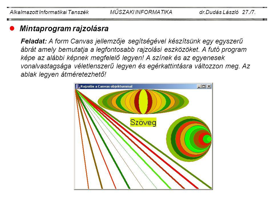 Alkalmazott Informatikai Tanszék MŰSZAKI INFORMATIKA dr.Dudás László 27./7.
