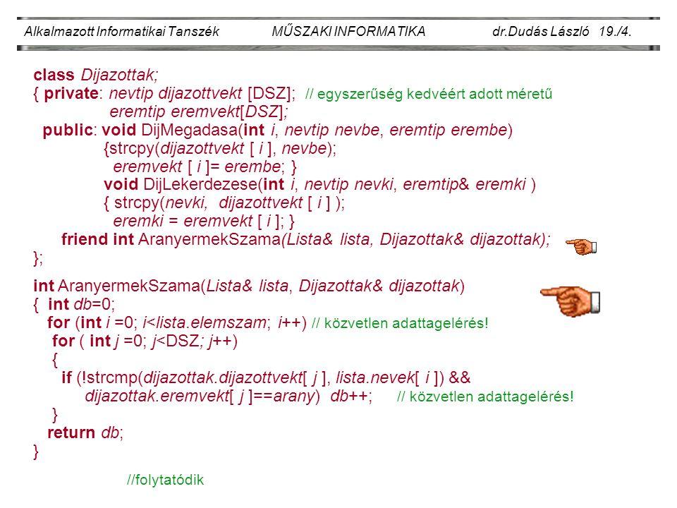 Alkalmazott Informatikai Tanszék MŰSZAKI INFORMATIKA dr.Dudás László 19./4.