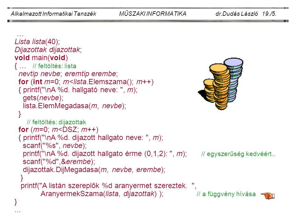 Alkalmazott Informatikai Tanszék MŰSZAKI INFORMATIKA dr.Dudás László 19./5.