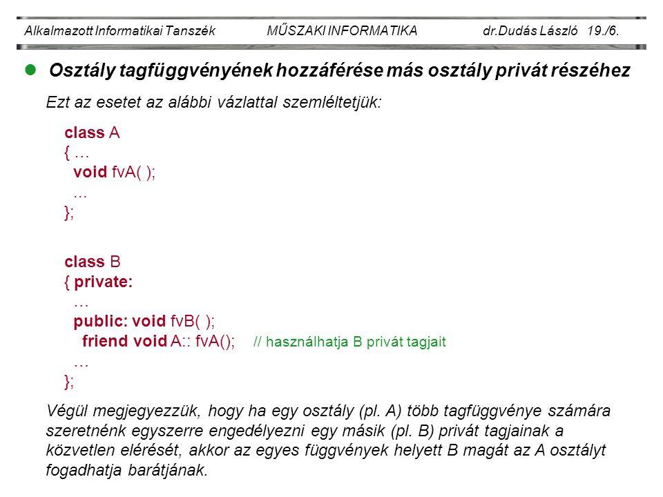 Alkalmazott Informatikai Tanszék MŰSZAKI INFORMATIKA dr.Dudás László 19./6.
