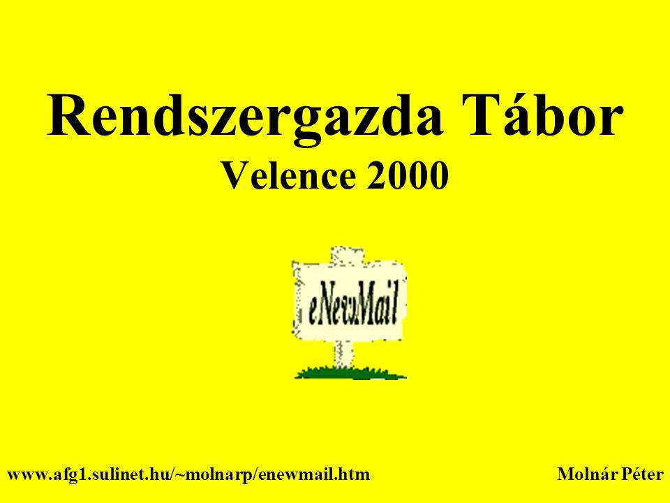 Rendszergazda Tábor Velence 2000 Molnár Péterwww.afg1.sulinet.hu/~molnarp/enewmail.htm