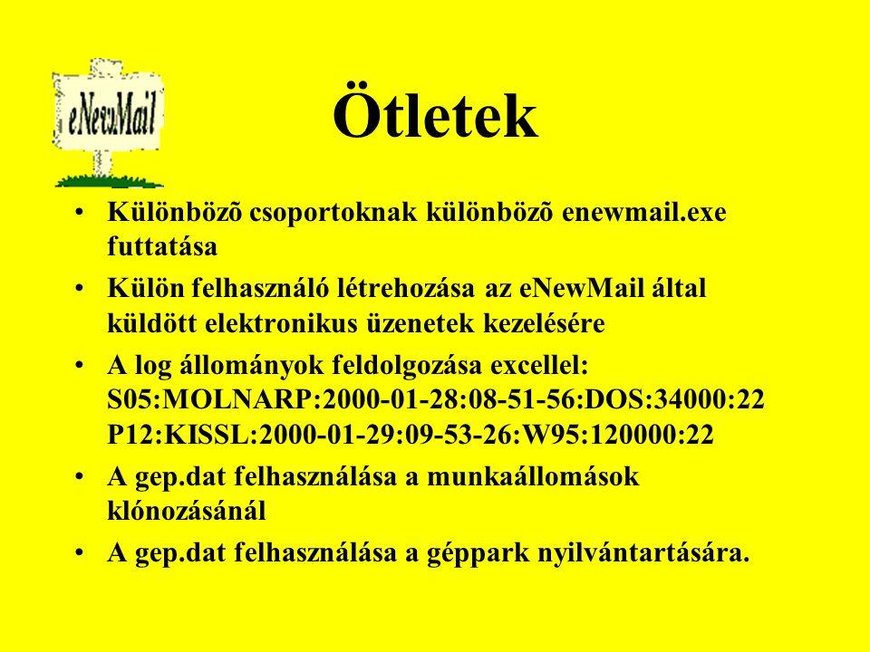 Ötletek Különbözõ csoportoknak különbözõ enewmail.exe futtatása Külön felhasználó létrehozása az eNewMail által küldött elektronikus üzenetek kezelésére A log állományok feldolgozása excellel: S05:MOLNARP:2000-01-28:08-51-56:DOS:34000:22 P12:KISSL:2000-01-29:09-53-26:W95:120000:22 A gep.dat felhasználása a munkaállomások klónozásánál A gep.dat felhasználása a géppark nyilvántartására.