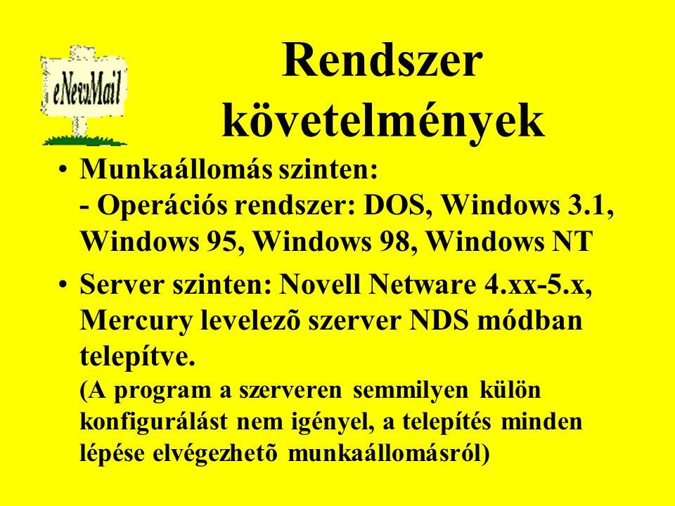A program részei enewmail.exe enewmail.ini RF mirc.ini Server.ini RF gep.dat codepage.cp RWC Belépési LOG állományok helye