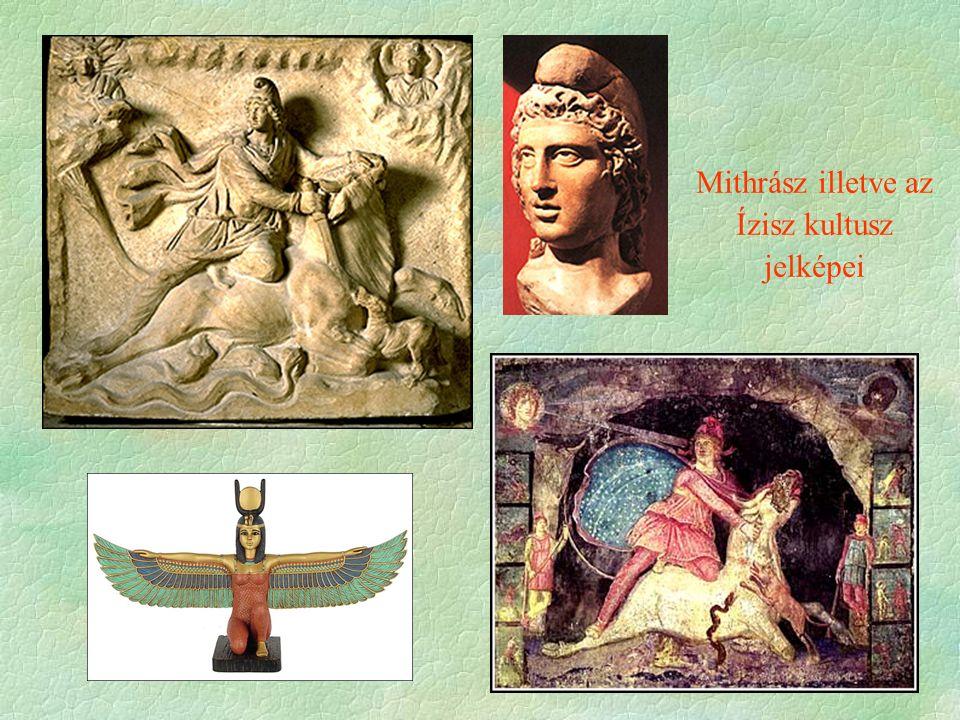 Mithrász illetve az Ízisz kultusz jelképei