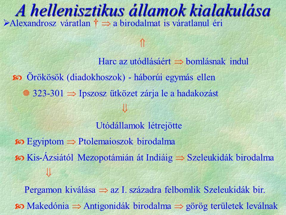  Alexandrosz váratlan †  a birodalmat is váratlanul éri  Harc az utódlásáért  bomlásnak indul  Örökösök (diadokhoszok) - háborúi egymás ellen  323-301  Ipszosz ütközet zárja le a hadakozást  Utódállamok létrejötte  Egyiptom  Ptolemaioszok birodalma  Kis-Ázsiától Mezopotámián át Indiáig  Szeleukidák birodalma  Pergamon kiválása  az I.