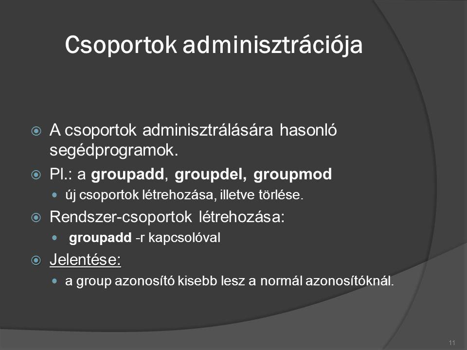/etc/password fájl  A Unix/Linux rendszerek alapvető felhasználói adatbázisa a /etc/passwd.
