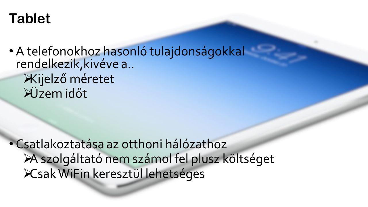 A telefonokhoz hasonló tulajdonságokkal rendelkezik,kivéve a..