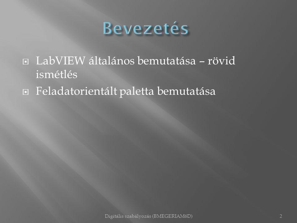  LabVIEW általános bemutatása – rövid ismétlés  Feladatorientált paletta bemutatása Digitális szabályozás (BMEGERIAM6D)2