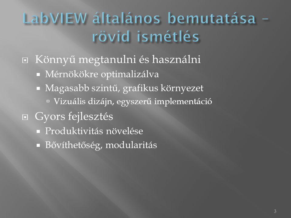  LabVIEW programkörnyezet létrehozása  Állapotgép és Event struktúra  Átviteli függvény átalakítása és vizsgálata  Állapottér modell, zérus-pólus  Egységugrás válasz, Bode-diagram, Nyquist-diagram, Zérus-pólus térkép  Egy zárt rendszer a folytonos tartományban akkor stabil, ha a pólusainak valós része < 0, azaz a negatív fél síkra esnek  Áttérés mintavételes tartományba  Impulzus átviteli függvény, állapottér, zérus-pólus  Egy zárt rendszer a mintavételes tartományban akkor stabil, ha a pólusok a valós-képzetes síkon az egység sugarú körön belül esnek.