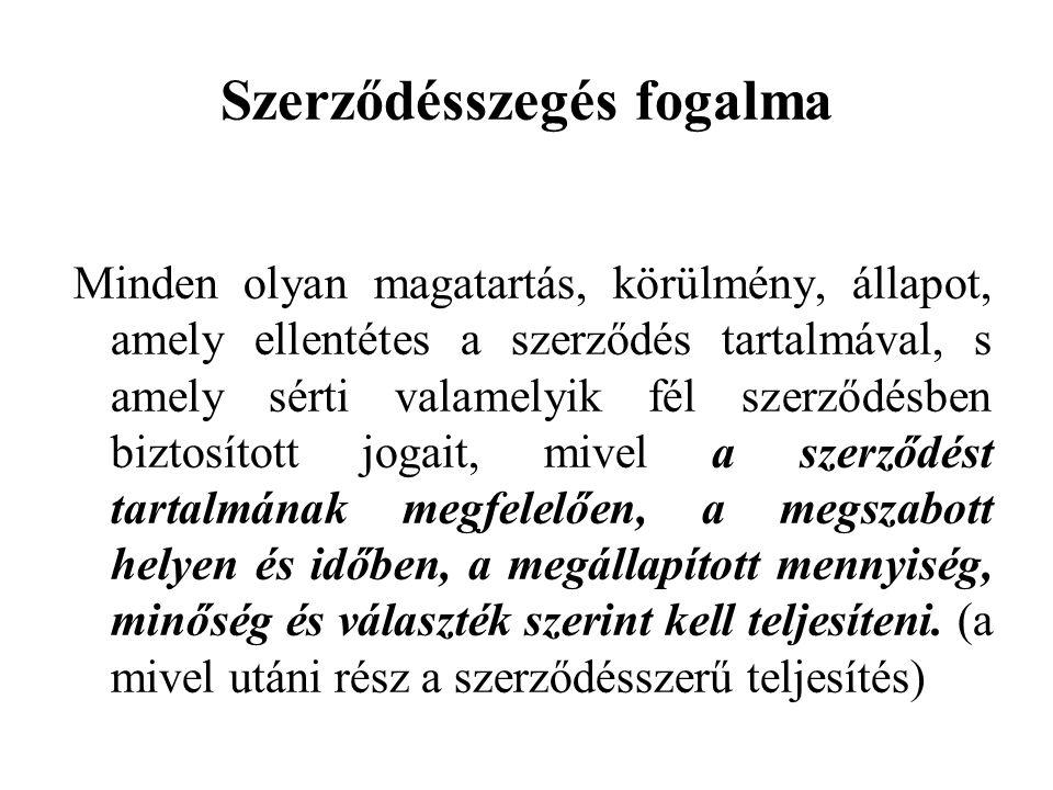 Szerződésszegés fogalma Minden olyan magatartás, körülmény, állapot, amely ellentétes a szerződés tartalmával, s amely sérti valamelyik fél szerződésben biztosított jogait, mivel a szerződést tartalmának megfelelően, a megszabott helyen és időben, a megállapított mennyiség, minőség és választék szerint kell teljesíteni.