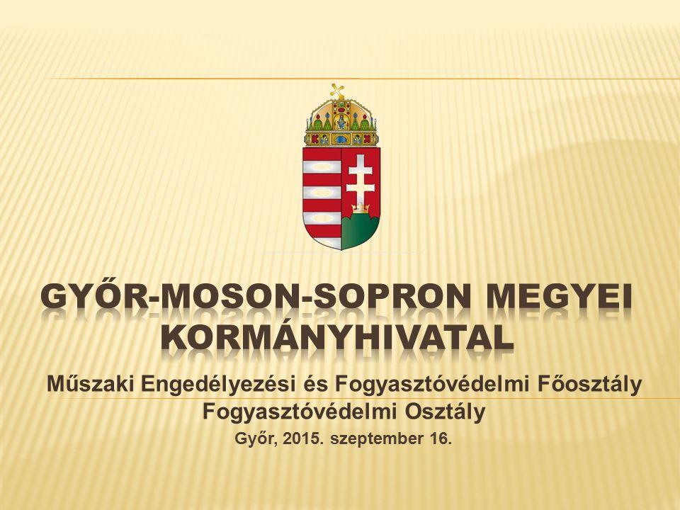 Műszaki Engedélyezési és Fogyasztóvédelmi Főosztály Fogyasztóvédelmi Osztály Győr, 2015.