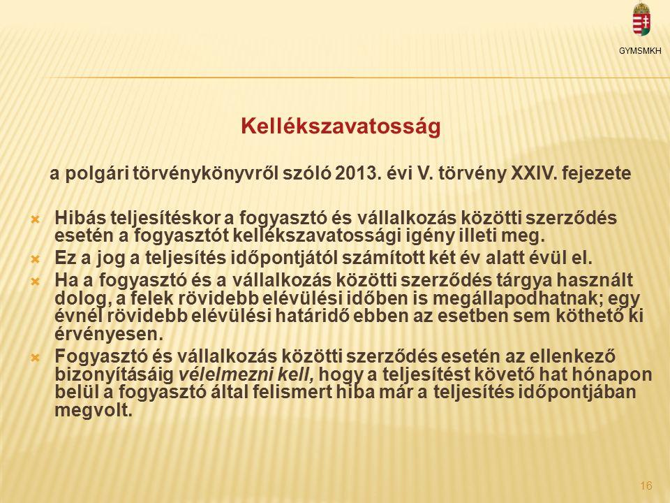 Kellékszavatosság a polgári törvénykönyvről szóló 2013.