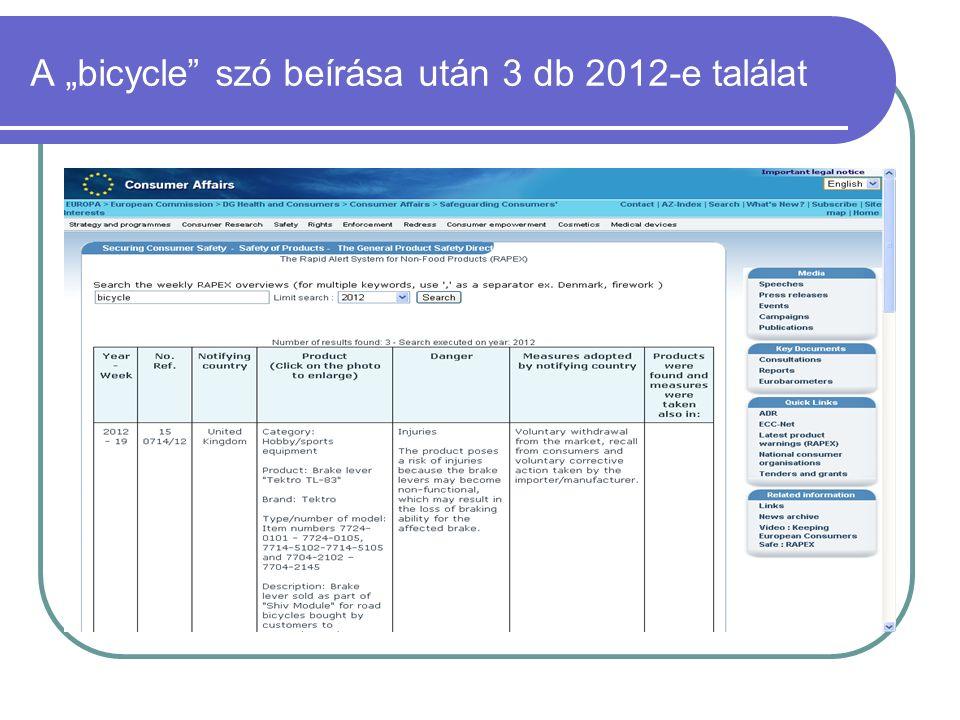 """A """"bicycle szó beírása után 3 db 2012-e találat"""