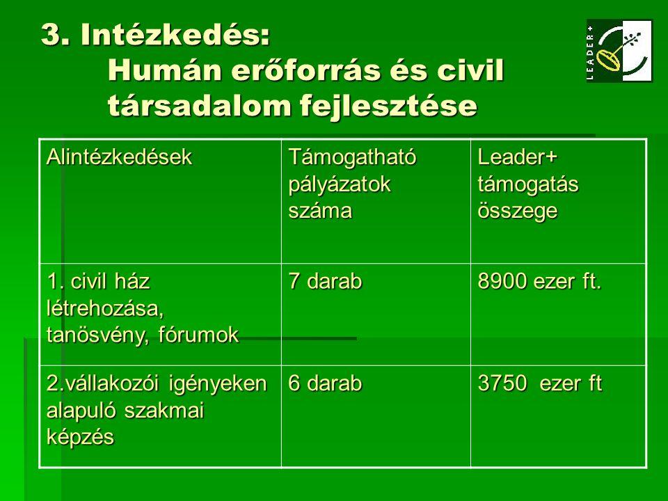 3. Intézkedés: Humán erőforrás és civil társadalom fejlesztése Alintézkedések Támogatható pályázatok száma Leader+ támogatás összege 1. civil ház létr
