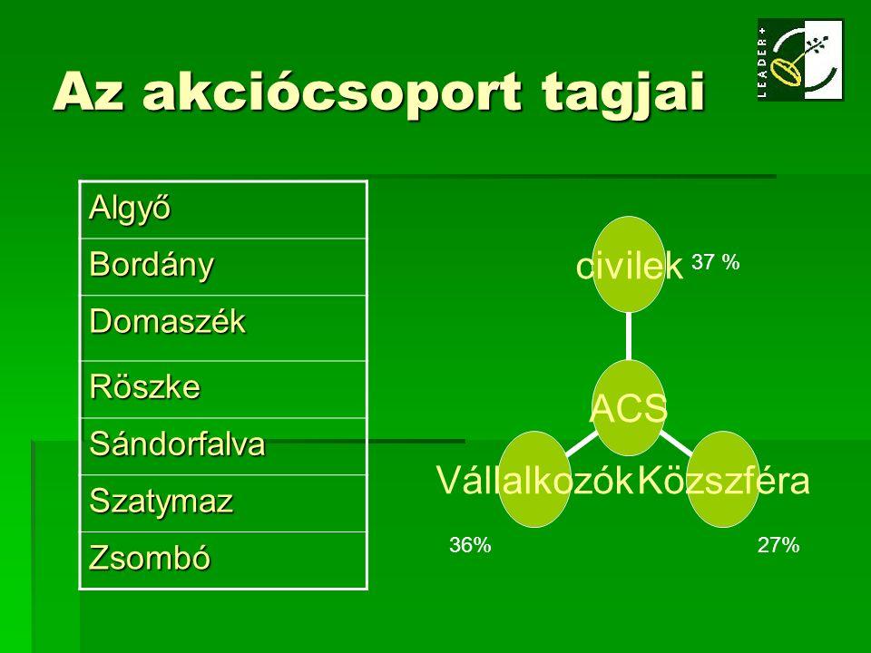Az akciócsoport tagjai Algyő Bordány Domaszék Röszke Sándorfalva Szatymaz Zsombó ACS civilekKözszféraVállalkozók 37 % 27%36%