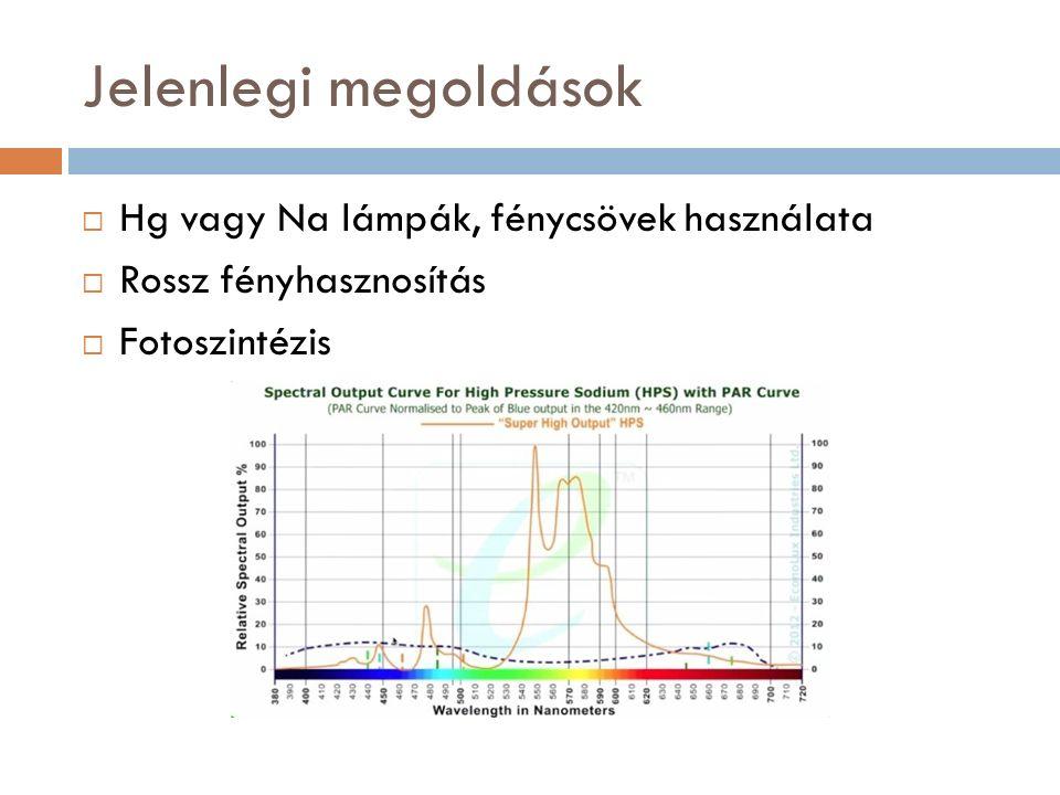 Jelenlegi megoldások  Hg vagy Na lámpák, fénycsövek használata  Rossz fényhasznosítás  Fotoszintézis