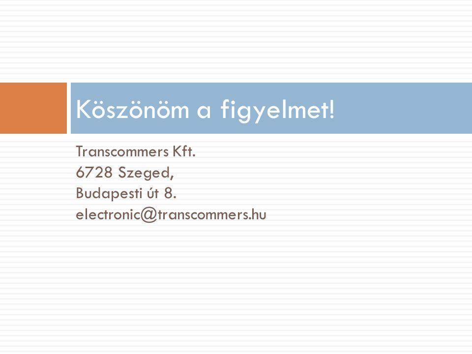 Transcommers Kft. 6728 Szeged, Budapesti út 8. electronic@transcommers.hu Köszönöm a figyelmet!
