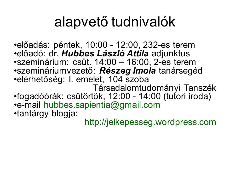 alapvető tudnivalók előadás: péntek, 10:00 - 12:00, 232-es terem előadó: dr.