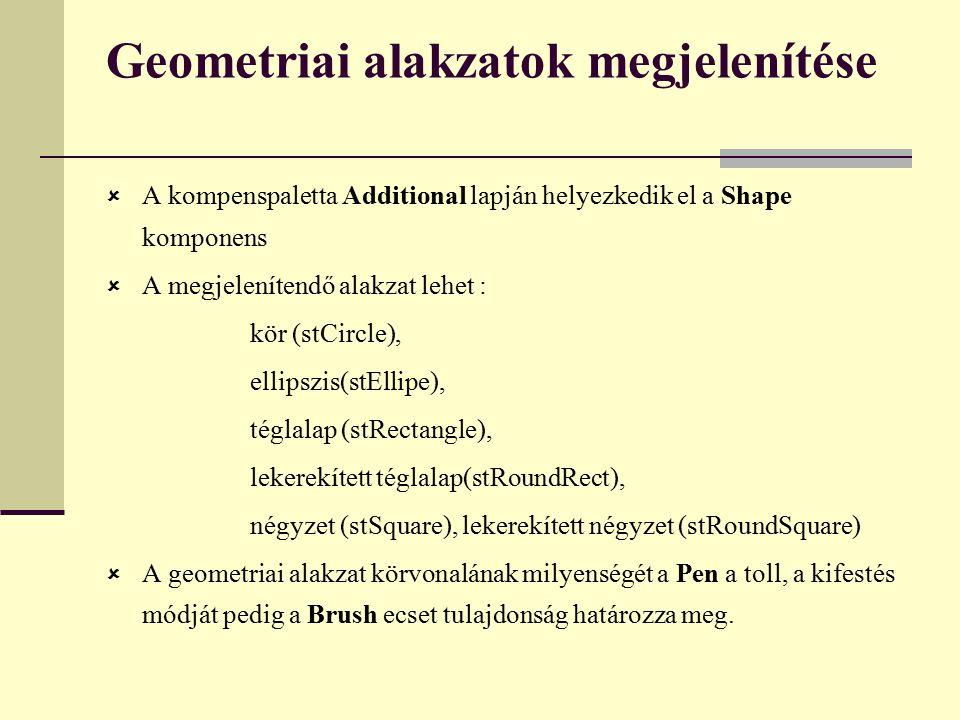 Geometriai alakzatok megjelenítése  A kompenspaletta Additional lapján helyezkedik el a Shape komponens  A megjelenítendő alakzat lehet : kör (stCircle), ellipszis(stEllipe), téglalap (stRectangle), lekerekített téglalap(stRoundRect), négyzet (stSquare), lekerekített négyzet (stRoundSquare)  A geometriai alakzat körvonalának milyenségét a Pen a toll, a kifestés módját pedig a Brush ecset tulajdonság határozza meg.