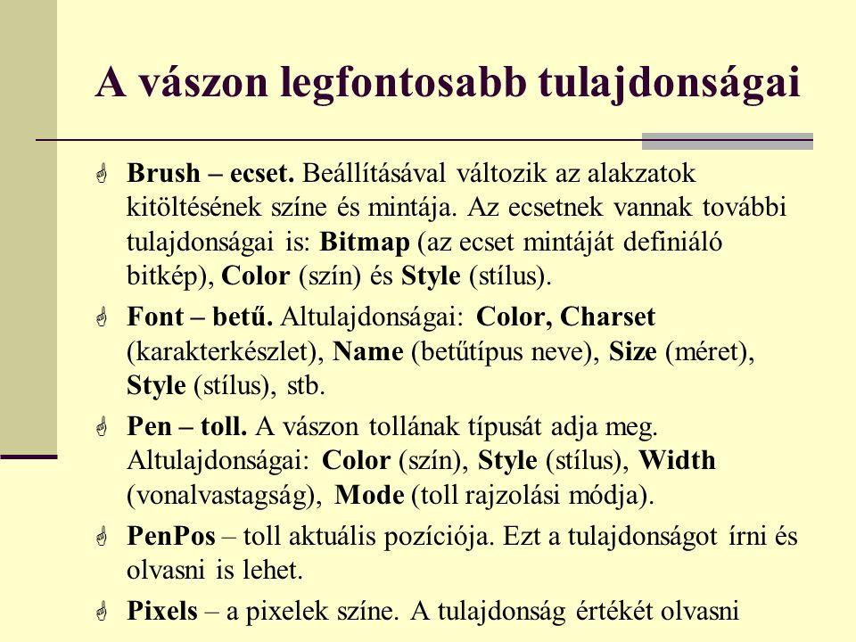 A vászon legfontosabb tulajdonságai  Brush – ecset. Beállításával változik az alakzatok kitöltésének színe és mintája. Az ecsetnek vannak további tul