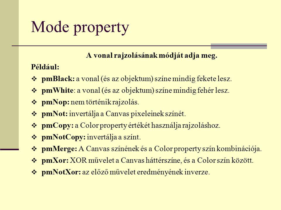 Mode property A vonal rajzolásának módját adja meg. Például:  pmBlack: a vonal (és az objektum) színe mindig fekete lesz.  pmWhite: a vonal (és az o