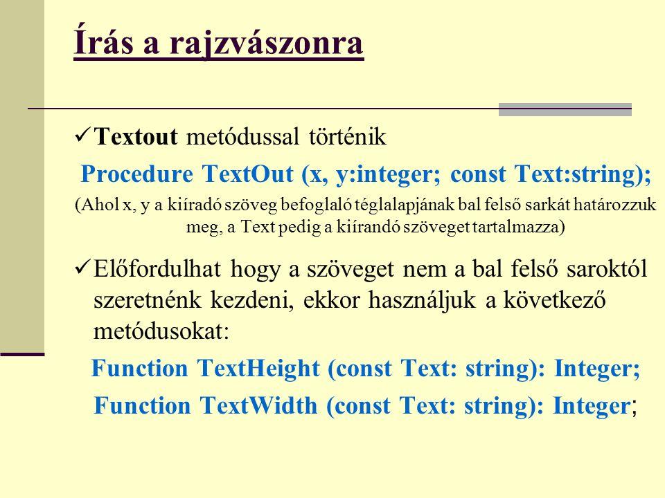 Írás a rajzvászonra Textout metódussal történik Procedure TextOut (x, y:integer; const Text:string); (Ahol x, y a kiíradó szöveg befoglaló téglalapjának bal felső sarkát határozzuk meg, a Text pedig a kiírandó szöveget tartalmazza) Előfordulhat hogy a szöveget nem a bal felső saroktól szeretnénk kezdeni, ekkor használjuk a következő metódusokat: Function TextHeight (const Text: string): Integer; Function TextWidth (const Text: string): Integer ;