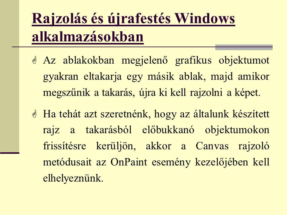 Rajzolás és újrafestés Windows alkalmazásokban  Az ablakokban megjelenő grafikus objektumot gyakran eltakarja egy másik ablak, majd amikor megszűnik a takarás, újra ki kell rajzolni a képet.