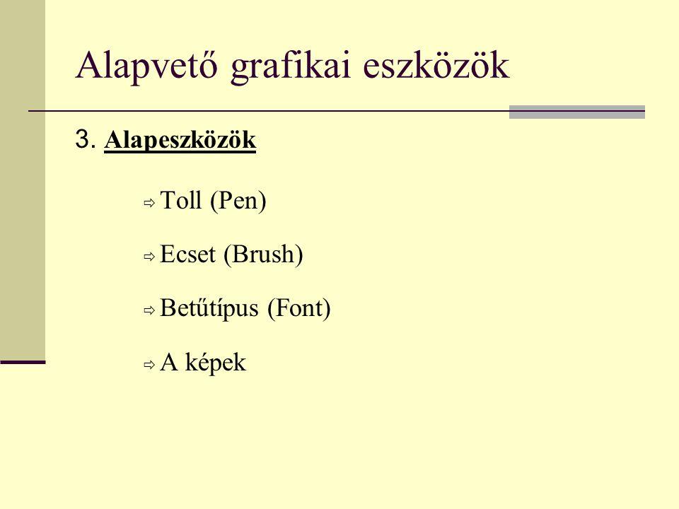 Alapvető grafikai eszközök 3. Alapeszközök  Toll (Pen)  Ecset (Brush)  Betűtípus (Font)  A képek